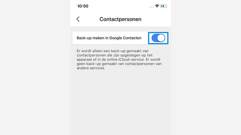 Google Drive backup contacts