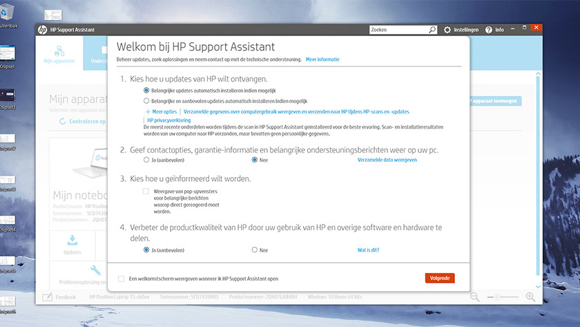 HP Support Assistant screen on HP laptop.