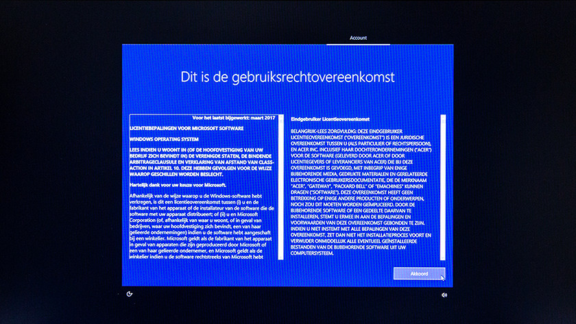 License agreement Windows 10 setup.