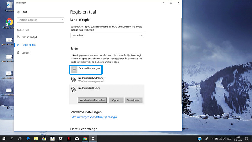 Regio en taal instellingen op Windows 10.