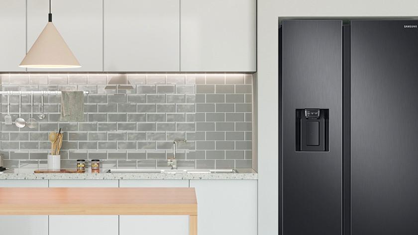 American fridge in kitchen