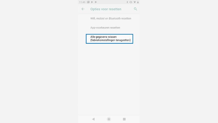 Android One telefoon resetten