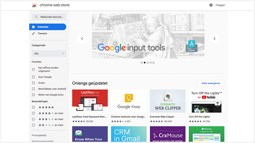 Chrome web store op een Chromebook.