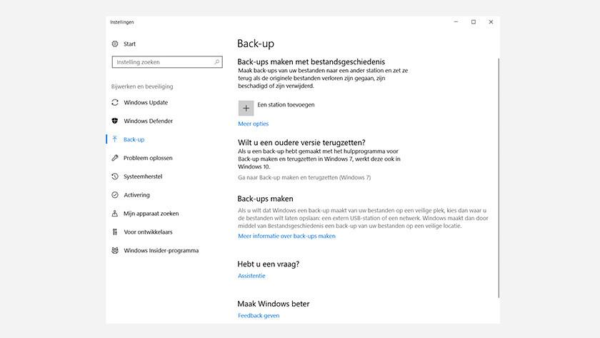 Aller sur la sauvegarde dans Windows 10.