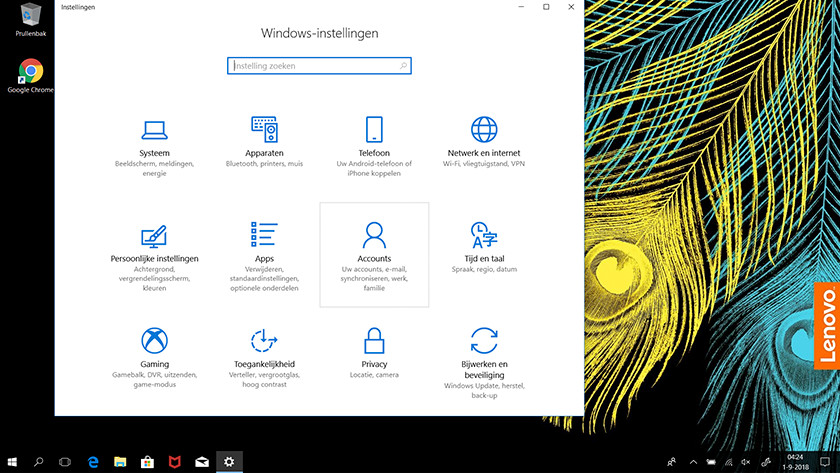 Het instellingen menu in Windows 10.