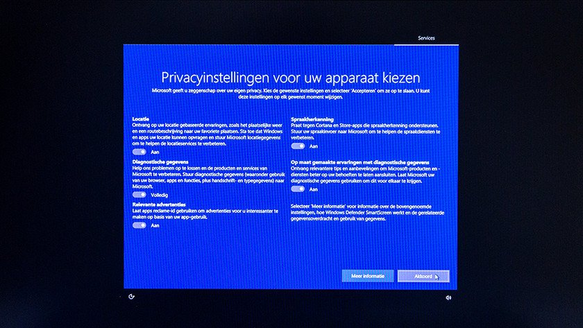 Privacy settings Windows 10 setup.