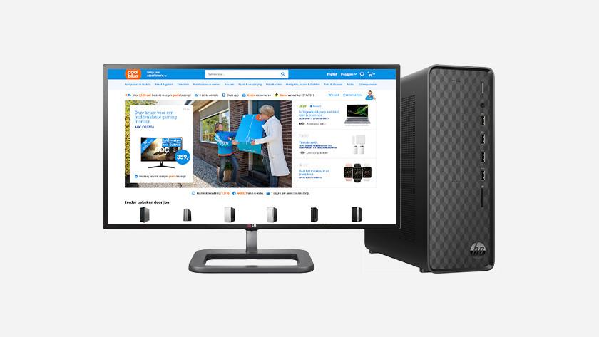 Coolblue website op monitor van HP desktop.