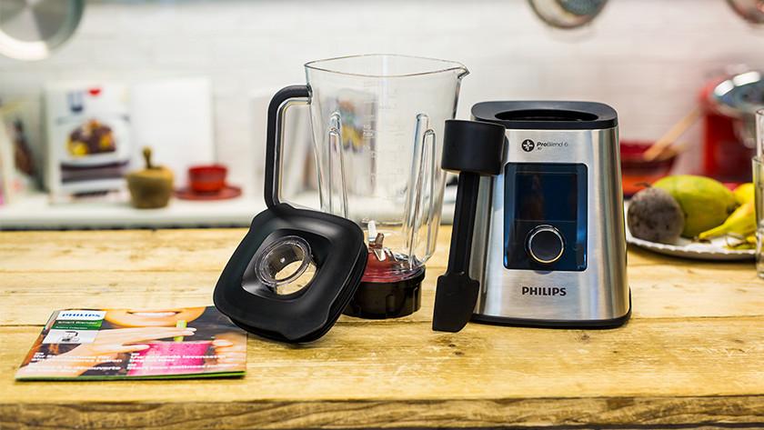 Philips blender, blenderkan, deksel, spatel en infofolder
