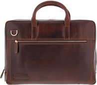 "Plevier Vintage Leather Laptop Bag 15.6"" Dark Brown"