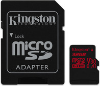 Kingston microSDHC Canvas React 32GB 100 MB/s + SD Adapter