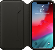 Apple iPhone Xs Leather Folio Book Black