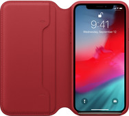 Apple iPhone Xs Coque à rabat folio en Cuir Rouge