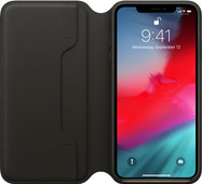 Apple iPhone Xs Max Leather Folio Book Black