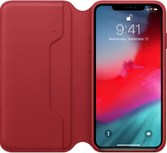 Apple iPhone Xs Max Leather Folio Book RED