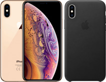 Apple iPhone Xs 64 GB Goud + Leather Back Cover