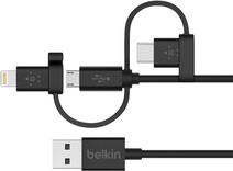 Belkin 3 in 1 Micro-USB / Lightning / USB-C cable Black 1.2m