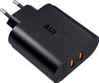 Aukey Usb A Home Charger with 2 Ports 3A Quick Charge Black