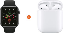 Apple Watch Series 5 44mm Space Gray Zwarte Sportband + Apple AirPods 2