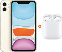 Apple iPhone 11 128 GB Wit + Apple AirPods 2 met oplaadcase