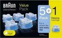 Braun reinigingsvloeistof Clean & Renew cartridges (5+1 stuks)