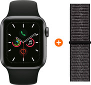 Apple Watch Series 5 44mm Space Gray Zwarte Sportband + Nylon Sport Loop Zwart