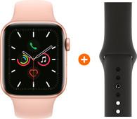 Apple Watch Series 5 40mm Goud Roze Sportband + Siliconen Sport Zwart