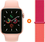 Apple Watch Series 5 40mm Goud Roze Sportband + Nylon Sport Loop Pomegranate