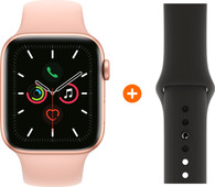 Apple Watch Series 5 44 mm Goud Roze Sportband + Zwarte Siliconen Sportband