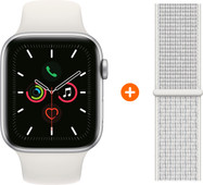 Apple Watch Series 5 40mm Zilver Witte Sportband + Nylon Sport Loop Summit White