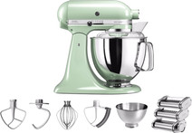 KitchenAid Artisan Mixeur 5KSM175PS Rouge macaron pistache + Kit rouleau à pâtes