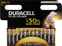 Piles AAA alcaline Duracell Plus Power 12 pièces