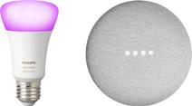 Google Nest Mini Blanc + Philips Hue White and Color E27 Ampoule séparée Bluetooth