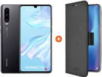 Huawei P30 Zwart + Azuri Wallet Magneet Book Case Zwart