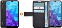 Huawei Y5 (2019) Zwart + Azuri Wallet Magneet Book Case Zwart