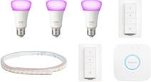 Philips Hue White & Colour Starter 3-Pack E27 + Lightstrip + 2 dimmers