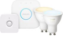 Philips Hue White Ambiance GU10 Bluetooth Lot de 2 + Philips Hue Détecteur de Mouvement +