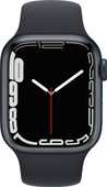 Apple Watch Series 7 41mm Nachtblauw Aluminium Zwarte Sportband