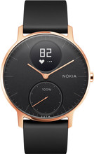 Nokia Steel HR (36mm) Rose Goud Zwart Siliconen