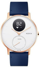 Nokia Steel HR (36mm) Rose Goud Blauw Leer