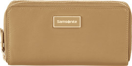 Samsonite Karissa LTH SLG L Double Zip Around Cognac