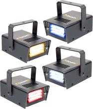 Beamz LED Mini Strobe Set 4pcs. W/R/Y/B