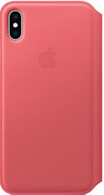 Apple iPhone XS Max Leather Folio Book Pioen Roze