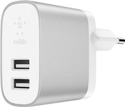 Belkin USB-A Thuislader 2 Poorten 12 W Wit/Zilver