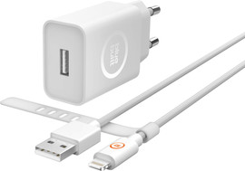 BlueBuilt 2.4A Oplader USB Nylon Lightning Kabel 1,5 meter W