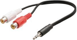 Valueline 3,5 mm naar RCA kabel 0,20 meter zwart