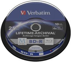 VERBATIM M-DISC BD-R 4X 25GB INKJET PRINTABLE 10 PACK SPINDL