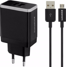 Mobiparts Thuislader Dual USB 2.4A Micro USB Zwart