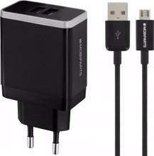 Mobiparts Thuislader Dual USB 4.8A Micro USB Zwart