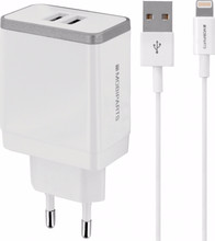 Mobiparts Thuislader Dual USB 4.8A Lightning Wit