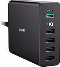 Anker PowerPort+5 met 1 USB-C en 4 USB Poorten Zwart 3A-2,4A